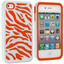 Apple iPhone 4 / 4S Orange / White Hybrid Zebra Hard/Soft Case Cover Angle 1