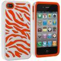 Apple iPhone 4 / 4S Orange / White Hybrid Zebra Hard/Soft Case Cover Angle 2