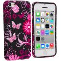 Apple iPhone 5C Pink Butterfly Flower TPU Design Soft Case Cover Angle 1