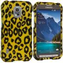 Samsung Galaxy S5 Active Black Leopard on Golden 2D Hard Rubberized Design Case Cover Angle 1