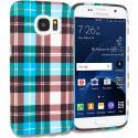 Samsung Galaxy S7 Edge Blue Checkered TPU Design Soft Rubber Case Cover Angle 1