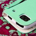 ZTE Warp Sequent N861 - Mint / White MPERO FLEX FLIP Wallet Case Cover Angle 7