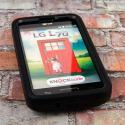 LG Optimus L70 - Black MPERO IMPACT X - Kickstand Case Cover Angle 2
