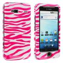 HTC G2 Vanguard Pink / White Zebra Design Crystal Hard Case Cover Angle 1
