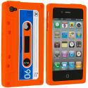 Apple iPhone 4 / 4S Orange Cassette Silicone Soft Skin Case Cover Angle 1