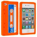 Apple iPhone 4 / 4S Orange Cassette Silicone Soft Skin Case Cover Angle 2