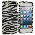 Apple iPod Touch 5th 6th Generation Black / White Zebra Hard Rubberized Design Case Cover Angle 1