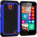 Nokia Lumia 630 635 Black / Blue Hybrid Rugged Grip Shockproof Case Cover Angle 1