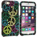 Apple iPhone 6 6S (4.7) Peace Sign Bling Rhinestone Case Cover Angle 1
