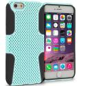 Apple iPhone 6 Plus 6S Plus (5.5) Black / Baby Blue Hybrid Mesh Hard/Soft Case Cover Angle 1