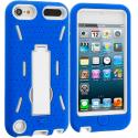 Apple iPod Touch 5th 6th Generation Blue / White Hybrid Heavy Duty Hard/Soft Case Cover with Stand Angle 2
