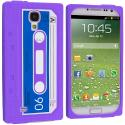 Samsung Galaxy S4 Purple Cassette Silicone Soft Skin Case Cover Angle 1