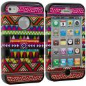 Apple iPhone 4 / 4S Black Tribal Hybrid Tuff Hard/Soft 3-Piece Case Cover Angle 1