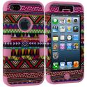 Apple iPhone 5/5S/SE Pink Tribal Hybrid Tuff Hard/Soft 3-Piece Case Cover Angle 2