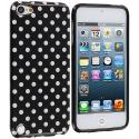 Apple iPod Touch 5th 6th Generation Black / Mini White TPU Polka Dot Skin Case Cover Angle 1