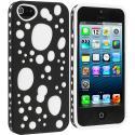 Apple iPhone 5/5S/SE Black / White Hybrid Bubble Hard/Soft Skin Case Cover Angle 2