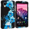 LG Google Nexus 5 Blue Flowers Hard Rubberized Design Case Cover Angle 1