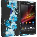 Sony Xperia Z Blue Flowers 2D Hard Rubberized Design Case Cover Angle 1