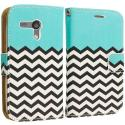 Motorola Moto G Mint Green Zebra Leather Wallet Pouch Case Cover with Slots Angle 2