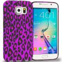 Samsung Galaxy S6 Purple Black Leopard TPU Design Soft Rubber Case Cover Angle 1