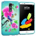 LG G Stylo 2 LS775 Blue Bird Pink Flower TPU Design Soft Rubber Case Cover Angle 1