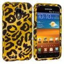 Samsung Epic Touch 4G D710 Sprint Galaxy S2 Black Leopard on Yellow Hard Rubberized Design Case Cover Angle 1