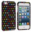 Apple iPhone 5 Colorful dots on Black Hard Rubberized Design Case Cover Angle 2