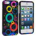 Apple iPhone 5/5S/SE Colorful Bubbles Hard Rubberized Design Case Cover Angle 1