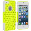 Apple iPhone 5 White / Yellow Hybrid Mesh Hard/Soft Case Cover Angle 1