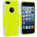 Apple iPhone 5 White / Yellow Hybrid Mesh Hard/Soft Case Cover Angle 2