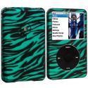 Apple iPod Classic Baby Blue Zebra Hard Rubberized Design Case Cover Angle 1