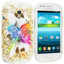 Samsung Galaxy S3 Mini i8190 Colorful Butterfly TPU Design Soft Case Cover Angle 1