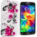 Samsung Galaxy S5 Pink Flower TPU Design Soft Case Cover Angle 2