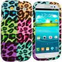 Samsung Galaxy S3 Splicing Grid Leopard Hard Rubberized Design Case Cover Angle 1