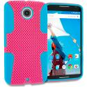 Motorola Google Nexus 6 Baby Blue / Hot Pink Hybrid Mesh Hard/Soft Case Cover Angle 1
