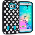 Samsung Galaxy S6 Polka Dot Baby Blue Hybrid Deluxe Hard/Soft Case Cover Angle 1
