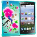 ZTE Lever Z936 Blue Bird Pink Flower TPU Design Soft Rubber Case Cover Angle 1