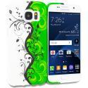 Samsung Galaxy S7 Edge Green / White Swirl TPU Design Soft Rubber Case Cover Angle 1