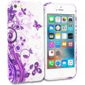 Apple iPhone 5/5S/SE Purple Swirl TPU Design Soft Rubber Case Cover Angle 1