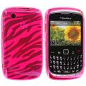 BlackBerry Curve 8520 8530 3G 9300 9330 Hot Pink Zebra TPU Rubber Skin Case Cover Angle 1