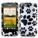 HTC One V Dog Paw Design Crystal Hard Case Cover Angle 1