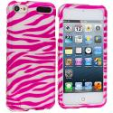 Apple iPod Touch 5th Generation 5G 5 Pink / White Zebra Hard Rubberized Design Case Cover Angle 1
