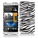 HTC One Mini Black/White Zebra Hard Rubberized Design Case Cover Angle 1