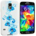 Samsung Galaxy S5 Blue White Flower TPU Design Soft Case Cover Angle 2