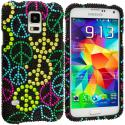 Samsung Galaxy S5 Peace Sign Bling Rhinestone Case Cover Angle 1