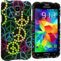 Samsung Galaxy S5 Peace Sign Bling Rhinestone Case Cover Angle 2