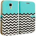 Samsung Galaxy S4 Active i537 Mint Green Zebra Leather Wallet Pouch Case Cover with Slots Angle 2