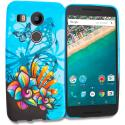 LG Google Nexus 5X Blue Butterfly Flower TPU Design Soft Rubber Case Cover Angle 1