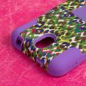 HTC Desire 610 - Purple Rainbow Leopard MPERO IMPACT X - Kickstand Case Angle 6