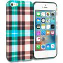 Apple iPhone 5/5S/SE Blue Checkered TPU Design Soft Rubber Case Cover Angle 1